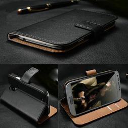 Cover Custodia portafoglio in vera pelle per Cellulari Samsu