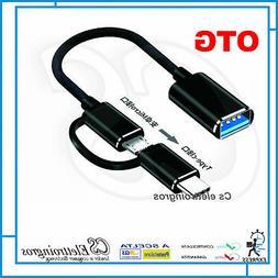 CAVO OTG USB MICROUSB + ADATTATORE MICROUSB TYPE C PER CELLU
